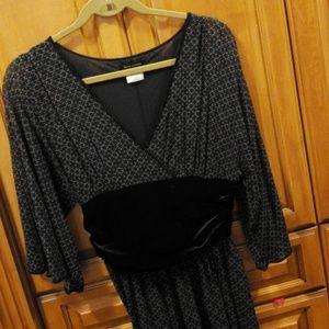 Black and tan drapey mesh & velvet dress